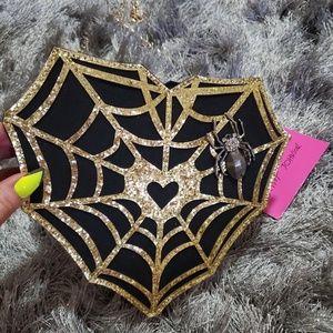 NWT betsey Johnson spiderweb purse retired